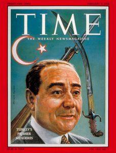 Adnan Menderes (Op de cover van de Amerikaanse weekblad 'TImes' op 3 februari 1958)