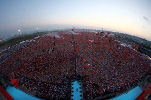 De massabijeenkomst van 7 juli in Istanbul voor de democratie en de herdenking van de Martelaren.
